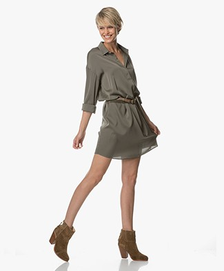 Repeat Silk Shirt Dress - Khaki
