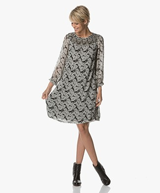 Indi & Cold A-line Dress with Print - Black