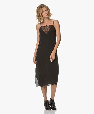 Anine Bing Deep V Lace Slip Dress - Black
