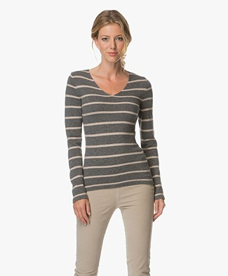 Belluna Hale Striped Pullover - Antra/Beige
