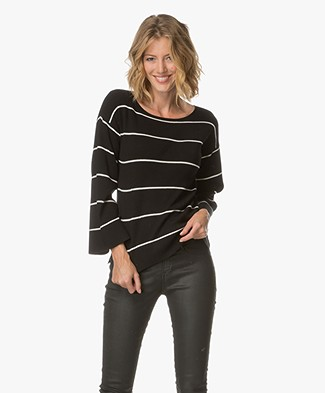 Plein Publique La Reine Striped Boat Neck Pullover - Black/Ecru