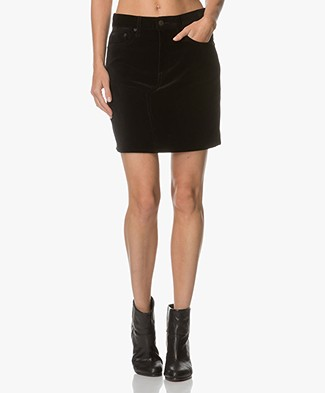 Rag & Bone Dive Velvet Skirt - Black