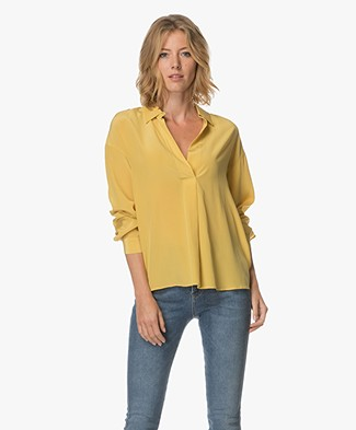 Repeat Silk Blouse - Mustard