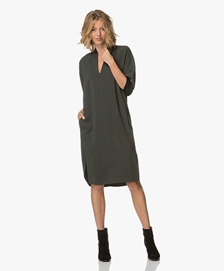 By Malene Birger Allegras Viscose Dress - Scarab Green