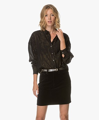 Closed Tilda Oversized Blouse with Lurex Pinstripes - Black