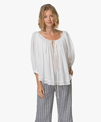 Sluiz. Ibiza Flared Top met Striksluiting - Wit