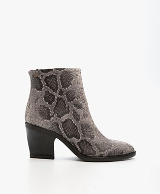 Fred de la Bretonière Faux Python Leather Boots - Grey