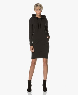 BY-BAR Hooded Sweater Dress - Off Black