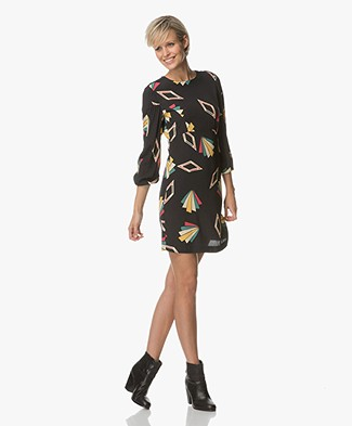 Ba&sh Violette Dress in Viscose Print - Black