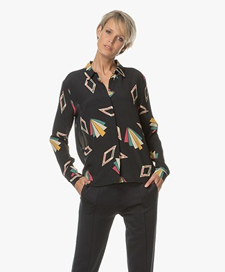Ba&sh Vool Printed Blouse - Black