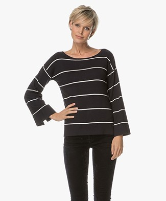 Plein Publique La Reine Striped Boat Neck Pullover - Navy/Ecru