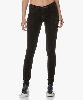Denham Spray Velvet Skinny Pants - Dark Blue