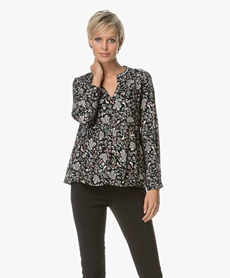 Indi & Cold Viscose Bloemenprint Blouse - Zwart