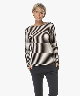 Majestic Striped Long Sleeve with Cashmere - Marine/Milk