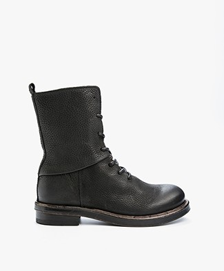 Shabbies Leather Lace-Up Boots - Black