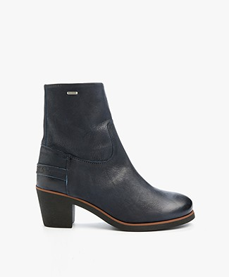 Shabbies Leather Heeled Ankle Boots - Dark Blue