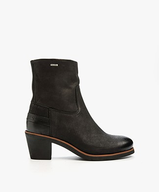 Shabbies Leather Heeled Ankle Boots - Black