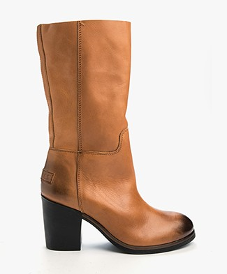Shabbies Mid-High Leather Boots - Cognac