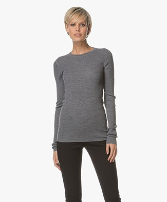 Theory Mirzi Merino Wool Sweater - Mid Grey