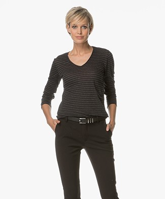 Majestic Striped Long Sleeve with Cashmere - Black/Anthracite