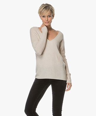 Repeat Casmhere V-neck Rib Pullover - Light Beige