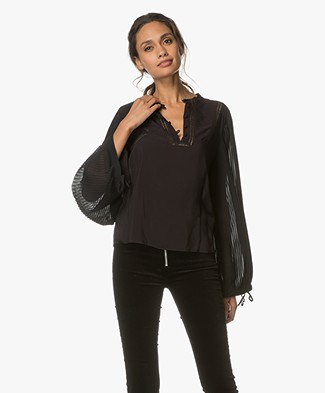 Anine Bing Plisse Long Sleeve Blouse - Black