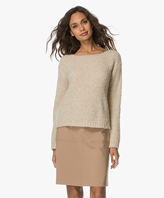 BY-BAR Bella Knitted Pullover with Lurex - Stone