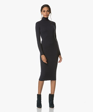 BY-BAR Sonny Rib Knit Midi Dress - Dark Navy
