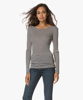 BY-BAR Wool Blend Striped Long Sleeve - Off-White