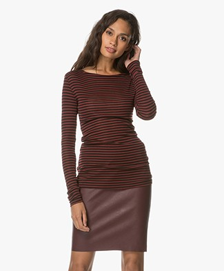 BY-BAR Wool Blend Striped Long Sleeve - Wine