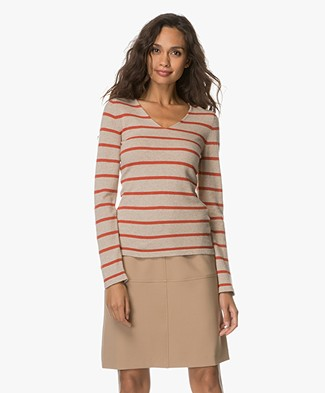 Belluna Hale Striped Pullover - Beige/Brique