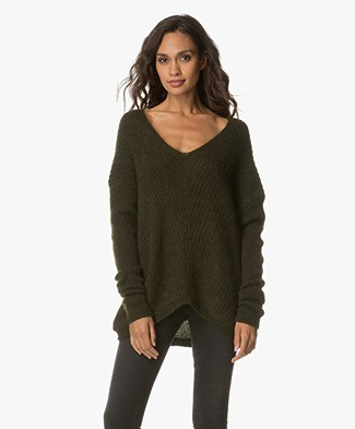 FWSS Wenche Oversized V-neck Sweater - Bronze Green