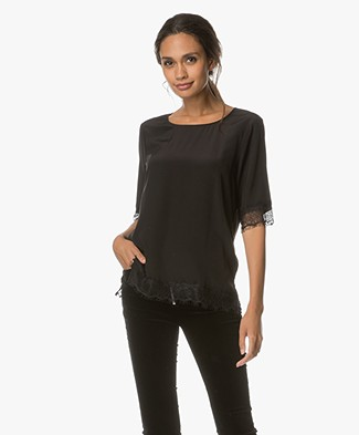 FWSS Tone Silk Top with Lace Details - Jet Black