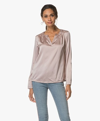 no man's land Zijden Top met V-split - Soft Blush