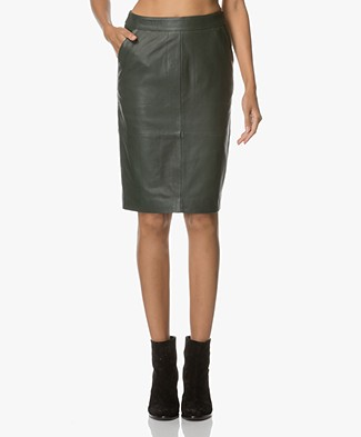 BY-BAR Leather Pencil Skirt - Dark Green