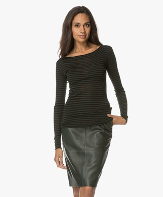 BY-BAR Wool Blend Striped Long Sleeve - Dark Green