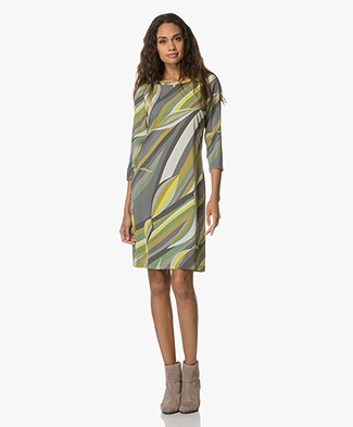 Kyra & Ko Ester Dress with Absract Print - Green/Multicolored