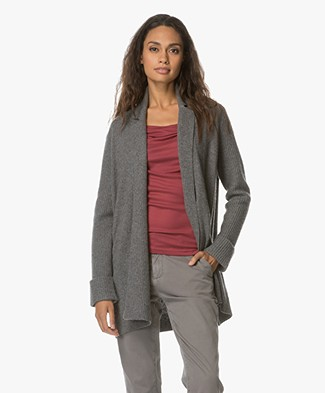 Repeat Wool and Cashmere Open Cardigan - Med Grey