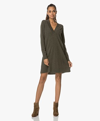 Repeat Wool and Cashmere V-neck Pullover - Forest