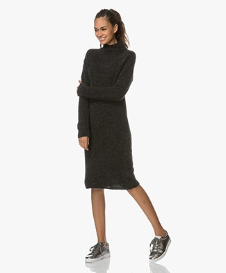 no man's land Knitted Turtleneck Dress - Anthracite
