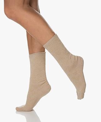 Dear Denier Karen Socks with Lurex Details - Gold