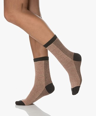 Dear Denier Lurex Laerke Socks - Nude/Dark Grey/lurex
