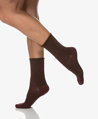 Dear Denier Malene Socks with Lurex Details - Bordeaux