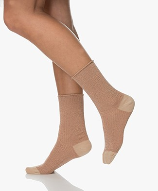Dear Denier Malene Socks with Lurex Details - Cipria