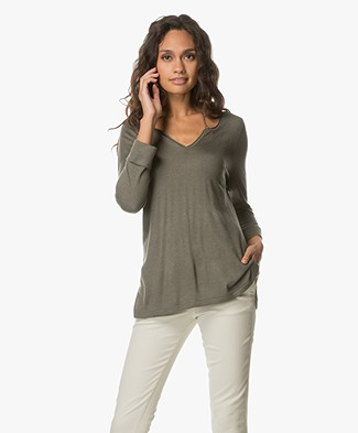 Repeat Fine Knitted Pullover with V-split Neck - Khaki