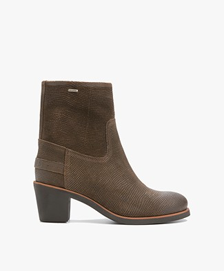 Shabbies Suede Ankle Boots with Print - Dark Olive