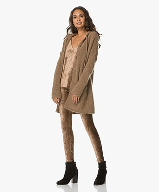 no man's land Thigh-long Hooded Cardigan - Autumn Bronze