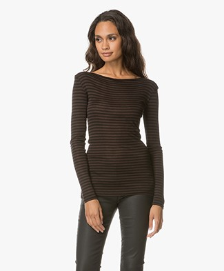 BY-BAR Wool Blend Striped Long Sleeve - Dark Brown/Black