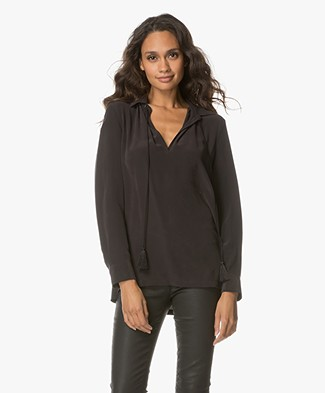 Equipment Bristol Silk Splitneck Blouse - Black