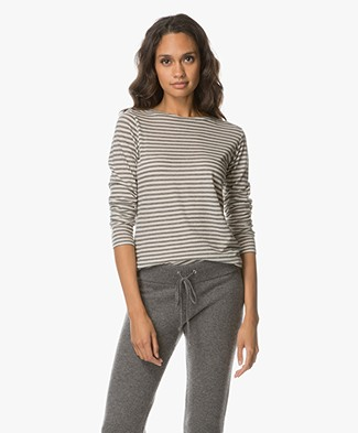 Majestic Striped Long Sleeve with Cashmere - Flanel/Milk